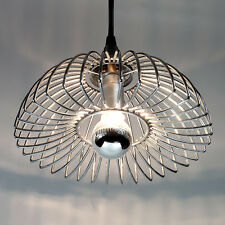 ANCIENNE SUSPENSION CHROME VINTAGE METAL PENDANT LAMP DESIGN ANNÉES 70'