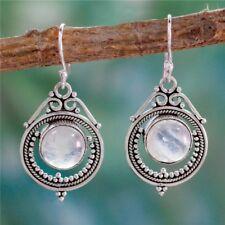 Vintage Women Silver Elegant Moonstone Dangle Earrings Jewelry Handmade Gift New