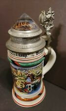 Antique 1907 Germany Military Stein Lithopane Couple Hold Hands Jewel Pewter Lid