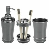 mDesign 3 Piece Metal Bathroom Vanity Countertop Accessory Set - Graphite Gray