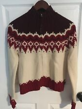 Abercrombie & Fitch Lambswool Red Beige Zip Up Sweater Size Large L