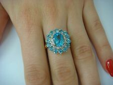 EXQUISITE BLUE TOPAZ AND DIAMONDS LADIES COCKTAIL RING, 14K YELLOW GOLD, SIZE 7