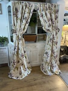 LAURA ASHLEY Gosford Plum Purple Country Floral Linen Mix Curtains Shabby Chic