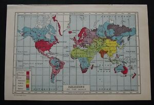 Vintage Map: Religions of the World, Harmsworth's Universal Encyclopedia, 1922