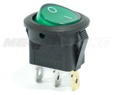 New Spst 3 Pin Onoff Round Rocker Switch Withgreen Neon Lamp Usa Seller