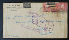 USA To Safed Palestine 7.4.1917, Service Suspended 31.8.1917, Ex Rare Cover #m49