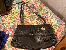 BRAHMIN - Croc Embossed Shoulder Bag Purse Handbag Black Brown Sliding Strap