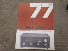 Mcintosh MR 77 Vintage FM stereo Tuner Original Owners manual