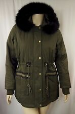 City Chic Khaki Zip Front Pleather Trim Parka Jacket Plus Size XS 14 BNWOT CC758