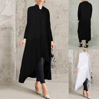 ZANZEA Femme Robe Chemise Asymétrique Manche Longue Casuel en vrac Dresse Plus