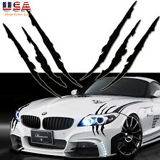 Black Scratch Claw Monster Car Vinyl Decal Eye Catching Sticker Headlight Decor