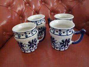 Vintage POCELANA MONTE SIAO 4 PORCELAIN COFFEE MUGS BLUE & WHITE #39 - MG BRAZIL