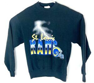 VTG ST Louis Rams Locker Line Black Lightning Strike Spell Out Sweatshirt M 🔥