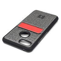 Dockem Luxe Pixel 3 Wallet Case, 1 Card Slot, Slim TPU Bumper, Grey Canvas Style