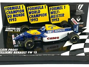 1:64 scale Minichamps Williams FW15 F1 Car - Alain Prost Limited Edition 1993