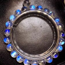 7.5mm Natural Burma Moonstone Rainrow Blue Light Round Beads Bracelet AAAA