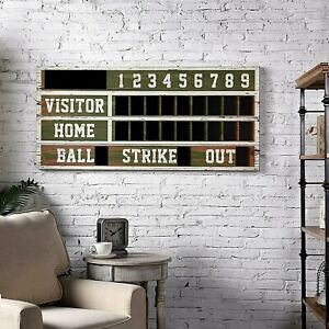 Retro Vintage Old Timey Baseball Scoreboard Wall Decor, Rustic Distressed Wood