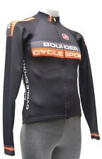 Castelli Long Sleeve Thermal Cycling Jersey Men SMALL Black Road Bike Gravel CX