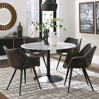 Modern Rustic 5-Piece Dining Set Round White Marble Table Top - Two Chair Styles