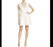 Alice and Olivia Designer Womens Ivory Metallic Textured Cocktail Dress 0 6 NEW