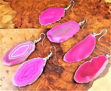 Pink Agate Slice Earrings Raw Edges Silver Hook Cc2 Healing Crystals And Stones