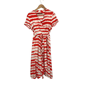 Debenhams Betty Jackson Black Size 14 EU 42 Red White Mid Length Half Wrap Dress