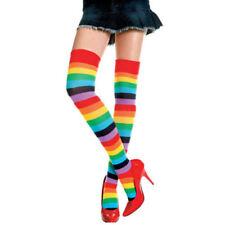 Rainbow Striped Long Overknee Stocking Cotton Casual Over Knee Socks for Women