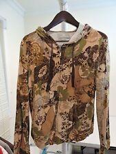Caribbean Joe Cotton Blend Multi-Color Floral Fully Zippered Hooded Jacket-Sz-XL