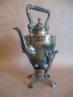 well worn antique silver-plated spirit kettle teapot w/ stand & burner