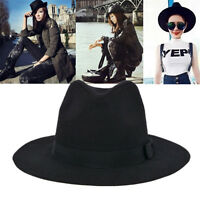 Vintage Men Women Ribbon Wide Brim Wool Felt Hat Jazz Floppy Bowler Fedora Cap