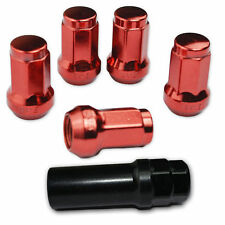 24 PC RED STEEL CLOSED-END LOCKING HEPTAGON LUG NUTS FOR WHEELS/RIMS 12X1.5 A