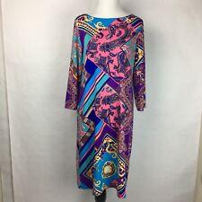 Women's Dress Tiana B. 3/4 Sleeve Shift Dress Stretch Size S Print Multi Color