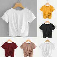Women Summer Beach Ladies Blouse T Shirt Short Sleeve Twist Front Crops Tops NEW