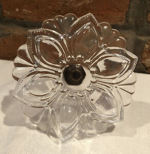 """Clear Pressed Glass Flower Curtain Tieback 4 1/4"""" X 5 1/2"""" 12 Available"""