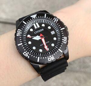 Citizen Watch * NJ0125-11E Automatic Black Date Dial Black Rubber Strap