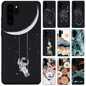 For Huawei P20 P30 Pro Lite P Smart Z Slim Silicone Black Painted TPU Case Cover