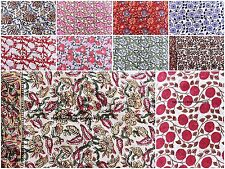 100 Metre Wholesale Lot Indian Floral Printed Fabric Hand Block Cotton Fabric