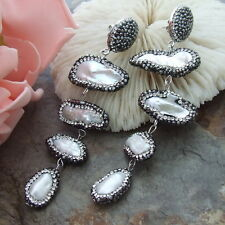 AB082414 White Biwa Pearl Earrings
