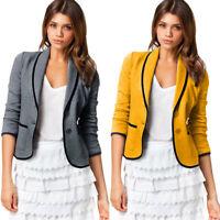 Women Office Lady Coat Blazer Suit Long Sleeve Tops Slim Jacket Outwear Plus Fit
