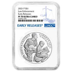 2021-P Proof $1 National Law Enforcement Silver Dollar NGC PF70UC Blue ER Label