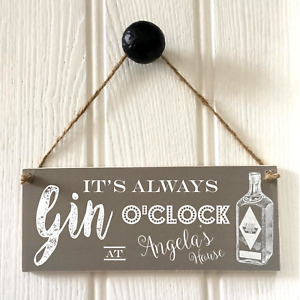 Personalised Gin O'Clock Sign New Home House Warming Drinks Plaque Handmade G&T