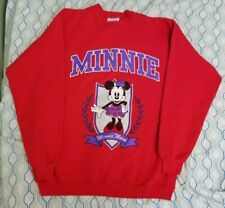 Vintage 90s Men's Disney Minnie Mouse Sweatshirt Crewneck Red Purple Large