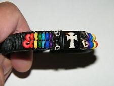 "Cross Bracelet Rainbow Colors Leather Cuff Jesus Christian 6""-10"" Wrist NEW!"