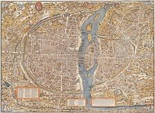 1550 PARIS FRANCE MAP City Map Reproduction Rolled CANVAS PRINT 32x24 in.