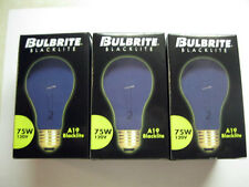 3 NEW 75 WATT 120v BLACK LIGHT BULBS HALLOWEEN PARTY STANDARD BASE A19 NEON GLOW