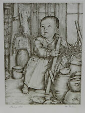 Asian Oriental Korean block engraved print of child starting life artist signed