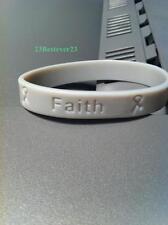 100 Light Gray Brain Cancer Awareness Silicone ADULT Bracelets Grey Wristband