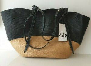 ZARA BLACK BROWN CONTRAST BRAIDED WOVEN BASKET TOTE  SUMMER HOLIDAY BAG NEW