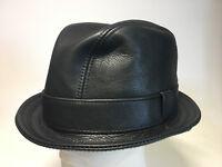 Jill Corbett Fedora Snatch hat uber black  leather Handmade S/M/L/XL/XXL/XXXL