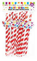 Novelty Paper Drink Straws( 19.5cm), Party Design & Biodegradable - Pack of 20